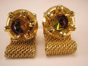 -Multi Color Rhinestone Vintage Watchband Wraparound Mesh Cuff Links