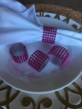 10 diamond crystar Rhinestone napking rings wedding party holder mesh pink
