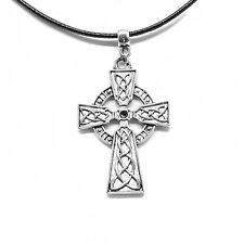 Celtic Cross Charm Choker Pendant Necklace with Black Cord