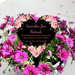 Personalised Heart Memorial Grave Marker, Floral Headstone, Remembrance, Plaque