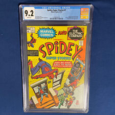 Spidey Super Stories #1 CGC 9.2 Marvel 1974 Spider-Man The Electric Company
