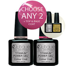 QUTIQUE Gel Nail Polish Colour Kit/Pack/Set -ANY 2 COLOURS Plus Base & Top Coat