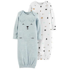 New Carter's Baby Boys' 2-Pack Bear Graphic & Print Sleeper Gowns NB