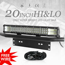 20inch 3-Row CREE LED Work Light Bar Spot Flood + 23'' Number Plate Frame+Wire