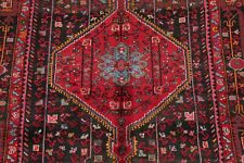 BLACK/RED Geometric Tribal Malayer Hamadan Oriental Area Rug Hand-Knotted 5'x8'