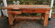 OLD/VINTAGE LARGE SOLID PINE WORK BENCH - GOOD GENERAL CONDITION