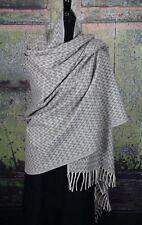 """Winter is Coming"" Lg Gray Wool Rebozo Shawl Hand Woven Oaxaca Mexico Folk Art"