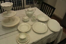 ROYAL KENT COLLECTION POLAND CHINA  EMBOSSED WHITE GOLD TRIM  Serving set for 8