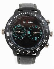 Herrenuhr Jay Baxter echt Lederarmbanduhr Dual XXL Watch Uhr Groß Schwarz
