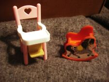 Vintage Fisher Price Loving Family High Chair & Nursery Rocking Horse