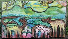 FANTASY LAND by Ruth FREEMAN ACRYLIC ON UNSTRETCHED CANVAS 14  X 24