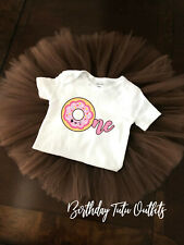 Donut Doughnut Tutu First 1st Birthday tutu outfit Girl Name Personalized