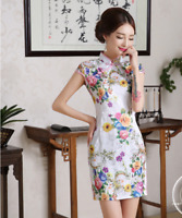 Women Vintage Elegant Chinese QiPao Cheongsam Evening Party short Dress