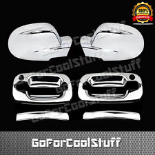 For Chevy Silverado 99-06 2Drs Handle W/Pskh+Full Mirror 2Pc Chrome Covers