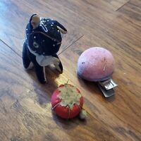 Vintage Pin Cushion Lot Tomato w/ Strawberry, Japan Dog, Mountable