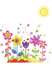 Cartoon Flower Child Room Removable Safe Wall Sticker Mural Decoration CA