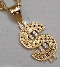 Men Large 12 CZ Yellow Gold Plated $ Money Sign Charm 24in Mariner Chain Set