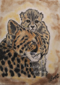 ACEO Cheetah Cat Animal Original Artwork Art Card Signed Artist Gift
