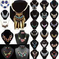 Women Pendant Crystal Necklace Choker Chunky Statement Chain Bib Fashion Jewelry