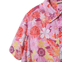 White Stag Womens Size 16W Blouse Button Front Short Sleeve Pink Floral