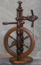"""Antique Primitive Miniature Flax Spinning Wheel TableTop Cherry Wood 10"""" Wheel"""