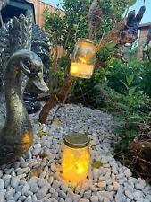 Set of 2 Led Lights hanging garden Jars Glass Mason Lantern ornament tree decorS