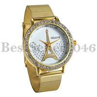 Fashion Women Unisex Rhinestone Eiffel Tower Stainless Steel Quartz Wrist Watch