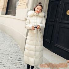 Women's Winter Coat Down Jacket Ladies Fur Hooded Jackets Knee Long Belt Parka