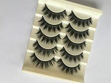 5 paires Naturals maquillage doux FAUX CILS épais Cils Long Black Handmade