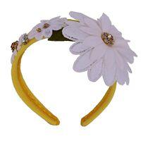 DOLCE & GABBANA Flower Headband Hairband Tiara Crystals Yellow White 06370