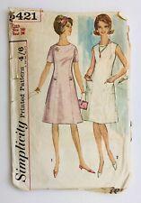 "1960's Vintage Sewing Pattern Simplicity 5421 Princess Line Dress 14T Bust 34"""