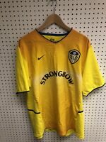 Nike Leeds United Football Club Yellow Strongbow Jersey Sz XL