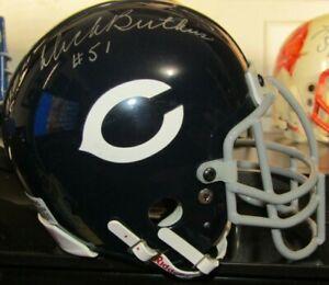 1995 Combo Signed HOF Gale Sayers #51 Dick Butkus #40 Chicago Bears Mini Helmet
