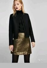 BN MASSIMO DUTTI SEQUIN GOLD MINI SKIRT SIZE XS