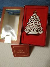 Lenox Christmas Tree Votive Candle Holder or Decoration Ivory and Gold Color