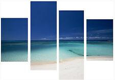 Large 4 Piece Multi Panel Set Canvas Picture Peacefull Beach Blue Sea Sand