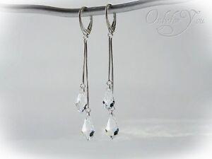 Swarovski Elements Silber 925 lange Ohrringe, Ohrhänger Drop Crystal NEU