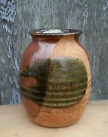 Vintage stoneware pottery brown vase artist signed, 6.25 inches