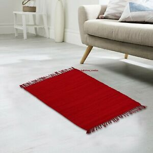 Rug 100% Cotton Area Rug Hand Woven Floor Natural Recycled Red Rug 2x3 Feet