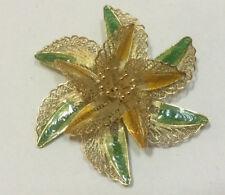 """Sterling Silver Vintage Spun Filigree Enamel Large Flower Brooch 2.25"""" Stunning"""