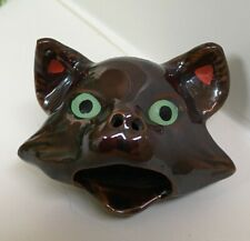 Vintage Small Brown Cat Head Redware Ashtray Incense Burner Japan