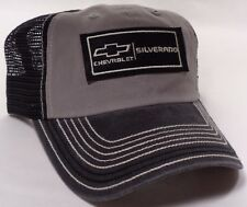 Hat Cap Chevrolet Chevy Silverado Truck Black Mesh Grey Faded Bill CF