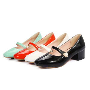 Ladies Mary Janes Shoes Synthetic Leather Mid Heels Round Toe Pumps AU Size S232