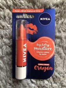 Nivea Long Lasting Moisture Intense Colour Lip Balm Crayon Coral Crush New