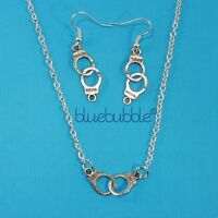 FUNKY HANDCUFF EARRINGS OR NECKLACE POLICE FANCY DRESS 50 SHADES PARTY HEN DO UK