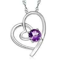 925 Silver Heart Zircon Pendant Necklace Woman Fashion Jewelry Birthday Gift