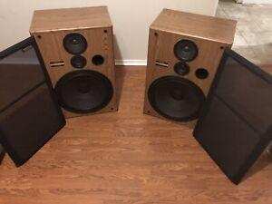 """Pioneer CS-G404 Floor Stereo Speaker 150W 3 Way 15"""" Woofer HiFi Vintage w/ Grill"""