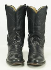 Justin Roper Cowboy Western Riding Boots Black Leather Vintage US Made Women's 6