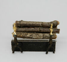 Vintage Fireplace Log Insert With Andirons Dollhouse Miniature 1:12