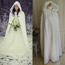 WHITE SATIN BETSEY COUTURE FAUX FUR TRIM HOOD LONG WINTER WEDDING BRIDAL CAPE